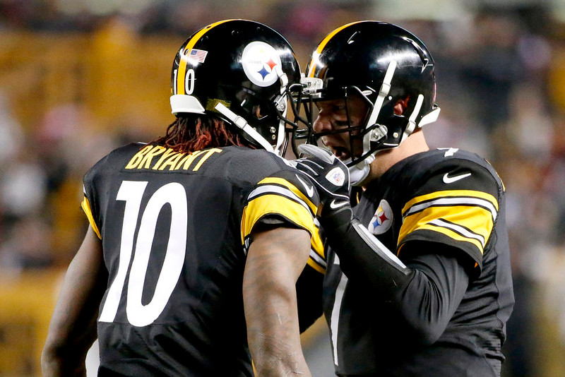 . Pittsburgh Steelers wide receiver Martavis Bryant (10) is greeted by quarterback Ben Roethlisberger (7) after making a touchdown catch from Roethlisberger in the second quarter of the NFL football game, Monday, Oct. 20, 2014, in Pittsburgh. (AP Photo/Gene J. Puskar)