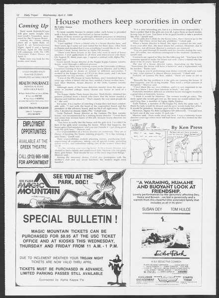 Daily Trojan, Vol. 100, No. 51, April 02, 1986