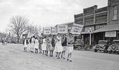 The Golden Valley Girls parade down Main Street Spearfish in 1935.  This is one of numerous photographs contained in a collection of historic items from the Lawrence County Extension Office.  Thanks to Dorothy Honadel for sharing this one with us.