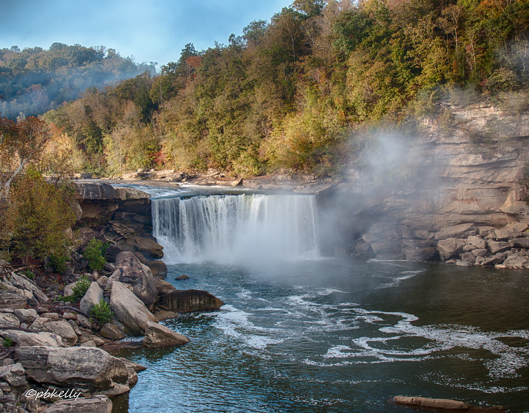 Cumberland Falls as the fog lifts.