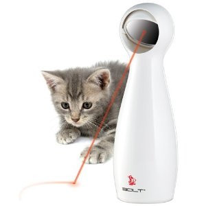 """FroliCat BOLT Interactive Laser Pet Toy  This is SOOOOO HILARIOUS!!!  BuBu could spend HOURS & jumping up 6' trying to """"catch"""" the dot!!!  Check out this video at: http://youtube.com/watch?v=blwWob3WmBQ  Amazon has them on sale for just $13.90! http://Amazon.com/FroliCat-BOLT-Interactive-Laser-Pet/dp/B0021L8W6K  ."""