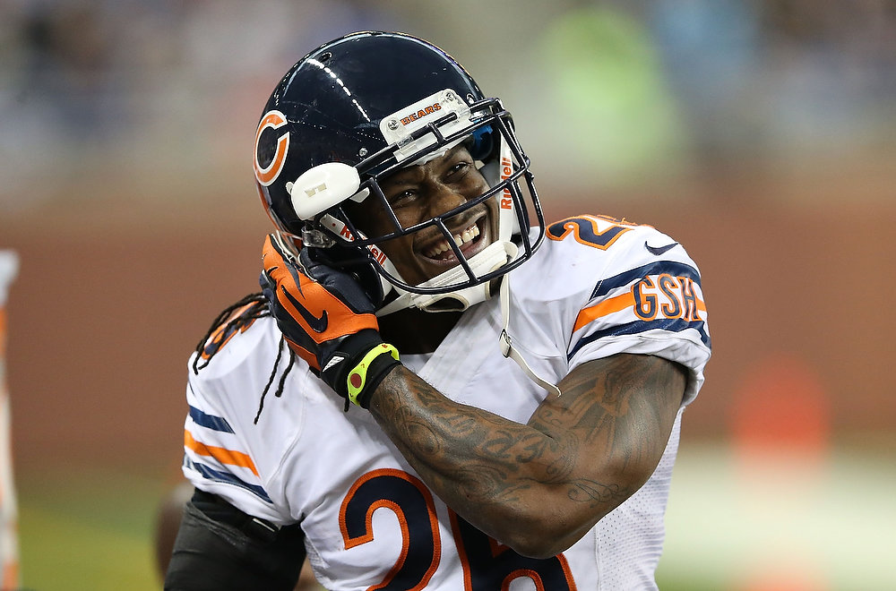 . Tim Jennings #26 of the Chicago Bears celebrates on the sidelines after intercepting Matthew Stafford #9 of the Detroit Lions during the second quarter of the game at Ford Field on December 30, 2012 in Detroit, Michigan.  (Photo by Leon Halip/Getty Images)