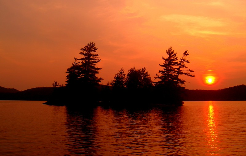 1-Sunset, Four Sisters Islands, Lower Saranac Lake, NY, july 12, 807pm.CIMG1231.jpg
