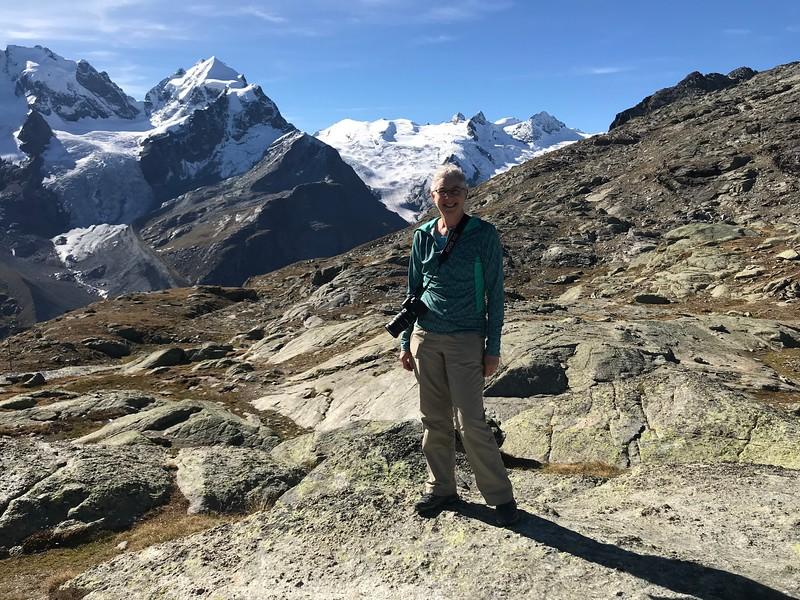 Near Fuorcla Surlej after short hike from Corvatsch Mittlestation Murtel