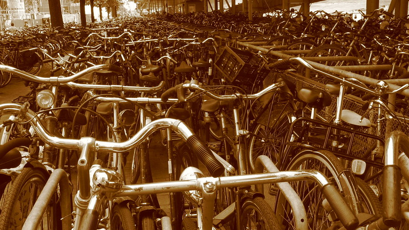 A bloody huge bike rack near Central Station, Amsterdam.