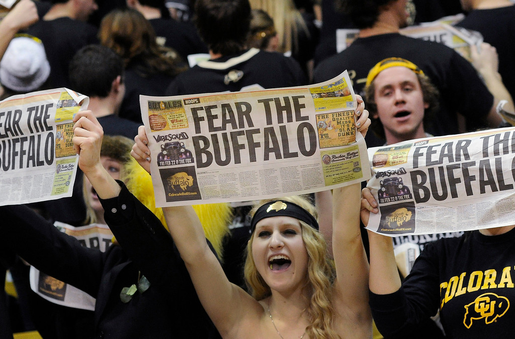 . BOULDER, CO. - FEBRUARY 14: Buffs fans showed their pride in the first half. The University of Colorado men\'s basketball team hosted Arizona Thursday night, February 14, 2013 at the Coors Event Center in Boulder. (Photo By Karl Gehring/The Denver Post)