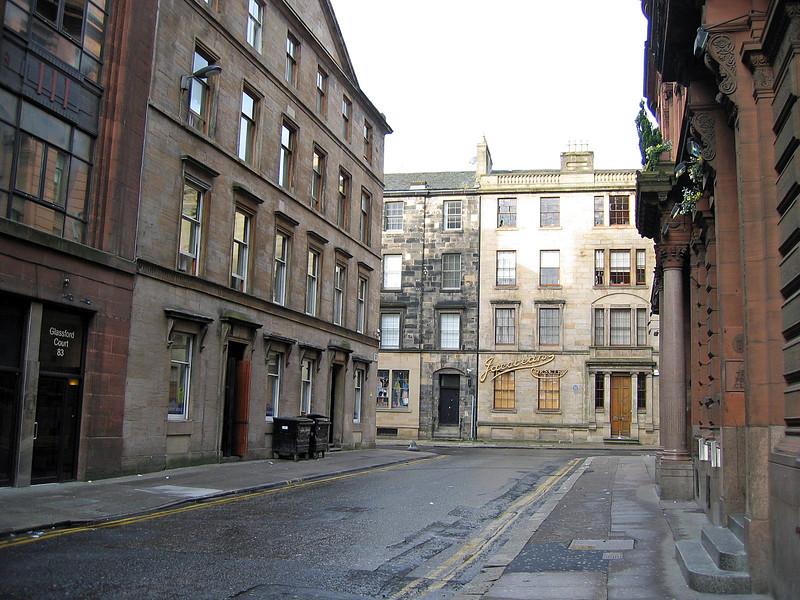 Sept. 30/07 - On Wilson St. facing Virginia St., with Merchant Lodge Hotel (on left corner), Glasgow.