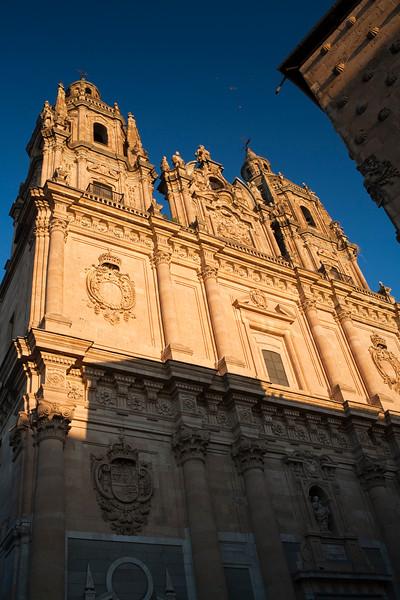 Morning light on the facade of Clergy church, town of Salamanca, autonomous community of Castilla and Leon, Spain