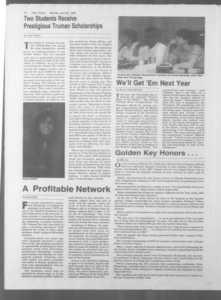 Daily Trojan, Vol. 106, No. 67, April 25, 1988