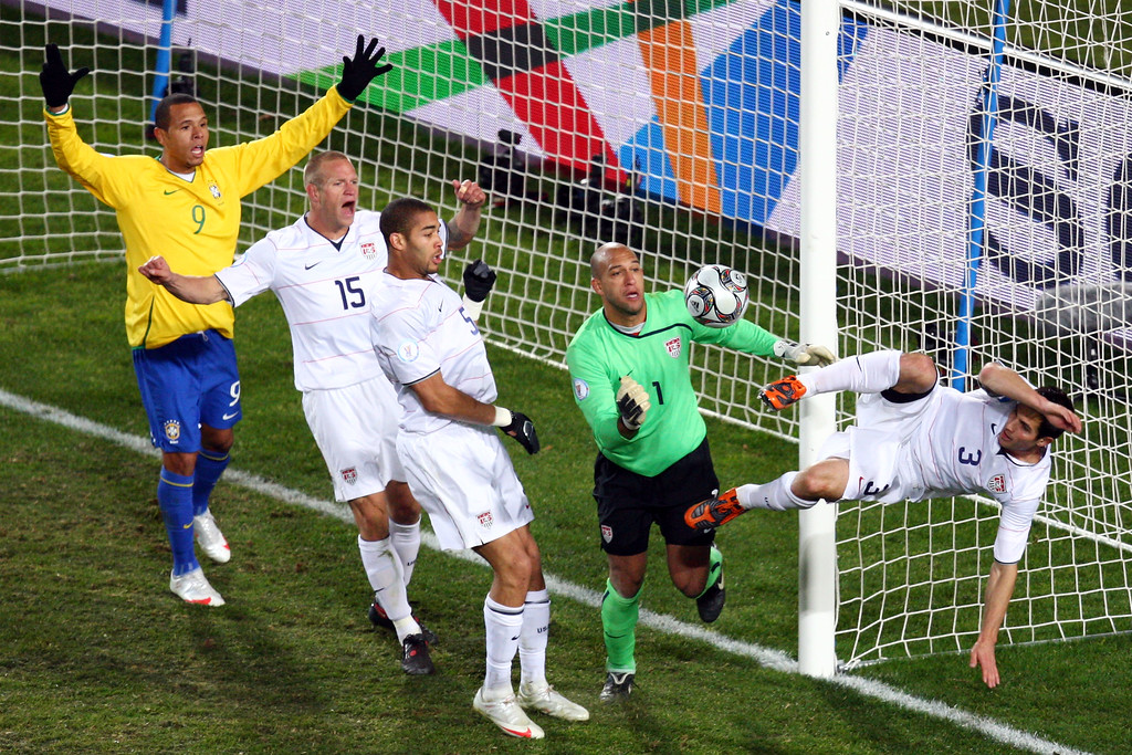 . Tim Howard of USA saves a header from Kaka of Brazil on the line during the FIFA Confederations Cup Final between USA and Brazil at the Ellis Park Stadium on June 28, 2009 in Johannesburg, South Africa.  (Photo by Vladimir Rys/Bongarts/Getty Images)