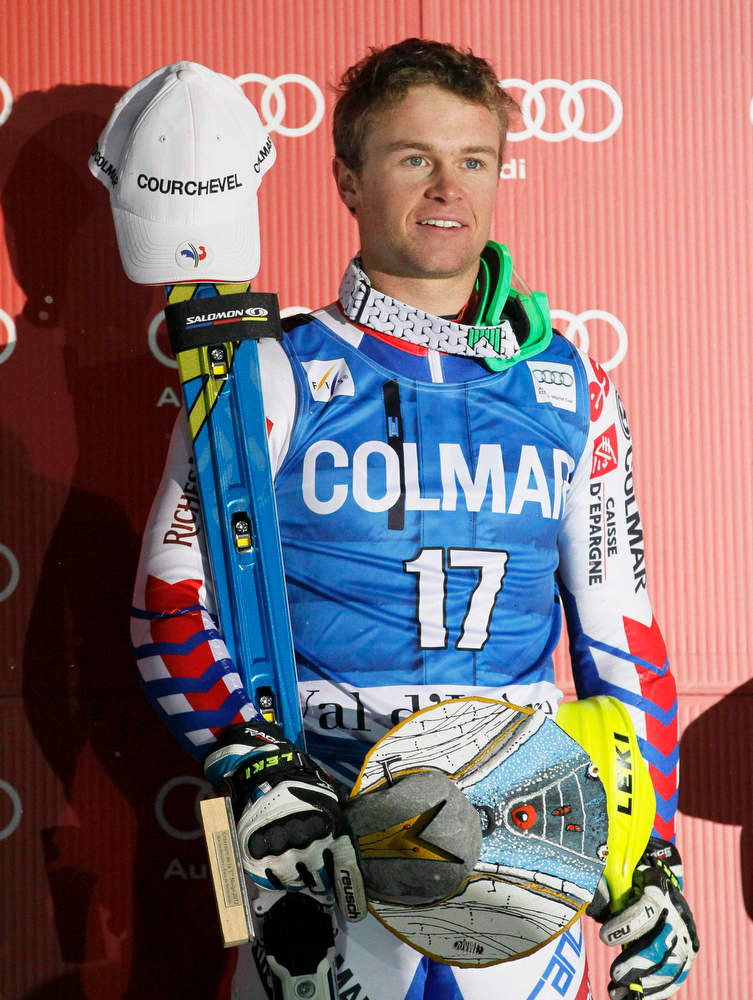 . Alexis Pinturault of France stands on the podium after winning the men\'s World Cup Slalom skiing race in Val d\'Isere, French Alps, December 8, 2012.    REUTERS/Robert Pratta