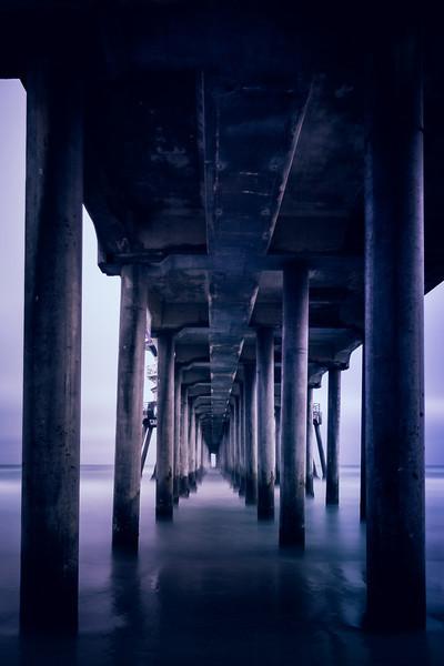 Beneath The Huntington Beach Pier. Long Exposure photo beneath the Huntington Beach Pier in California.