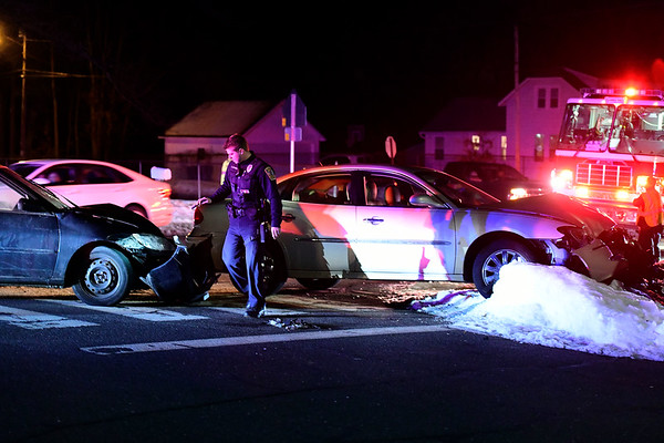 2/22/2019 Mike Orazzi   Staff The scene of a two-car crash at the intersection of Stevens Street and Fleetwood Road in Bristol Friday evening. One person was transported to Bristol Hospital with non life threatening injuries another refused treatment. No further information was available.