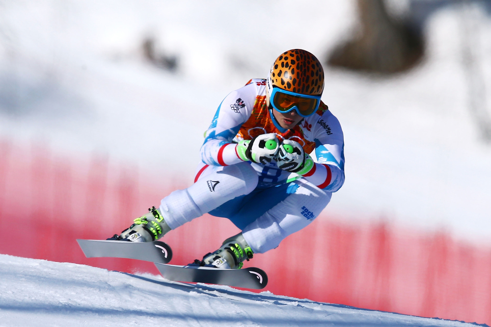 . Anna Fenninger of Austria in action during the Alpine Skiing Women\'s Super-G on day 8 of the Sochi 2014 Winter Olympics at Rosa Khutor Alpine Center on February 15, 2014 in Sochi, Russia.  (Photo by Doug Pensinger/Getty Images)