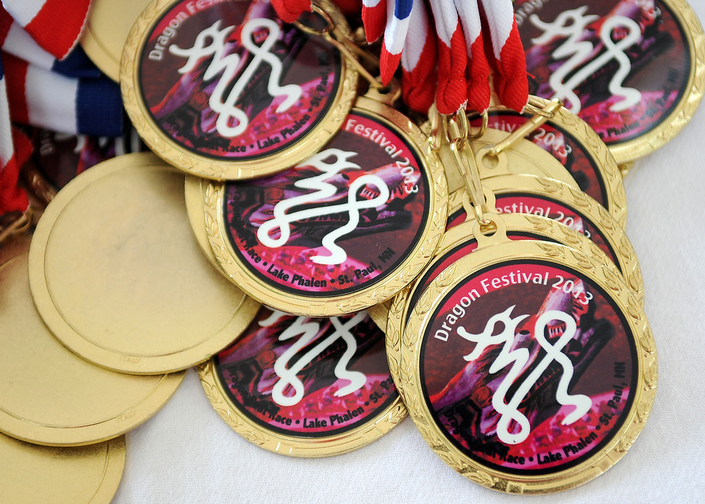 . Medals for the first-place team await the winners of the dragon boat race at the Dragon Festival. (Pioneer Press: Sherri LaRose-Chiglo)