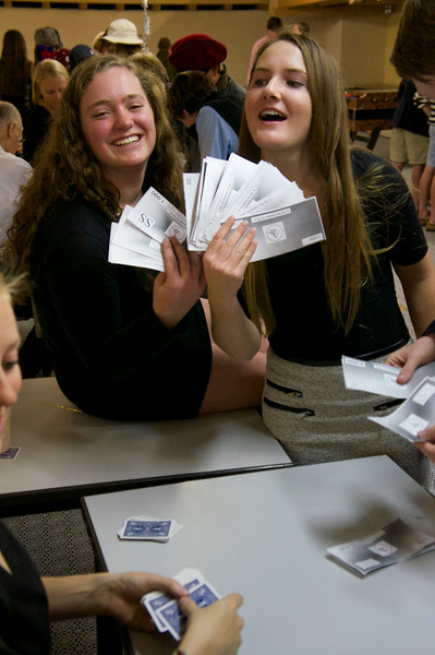 Catherine and Mady showing off their winnings