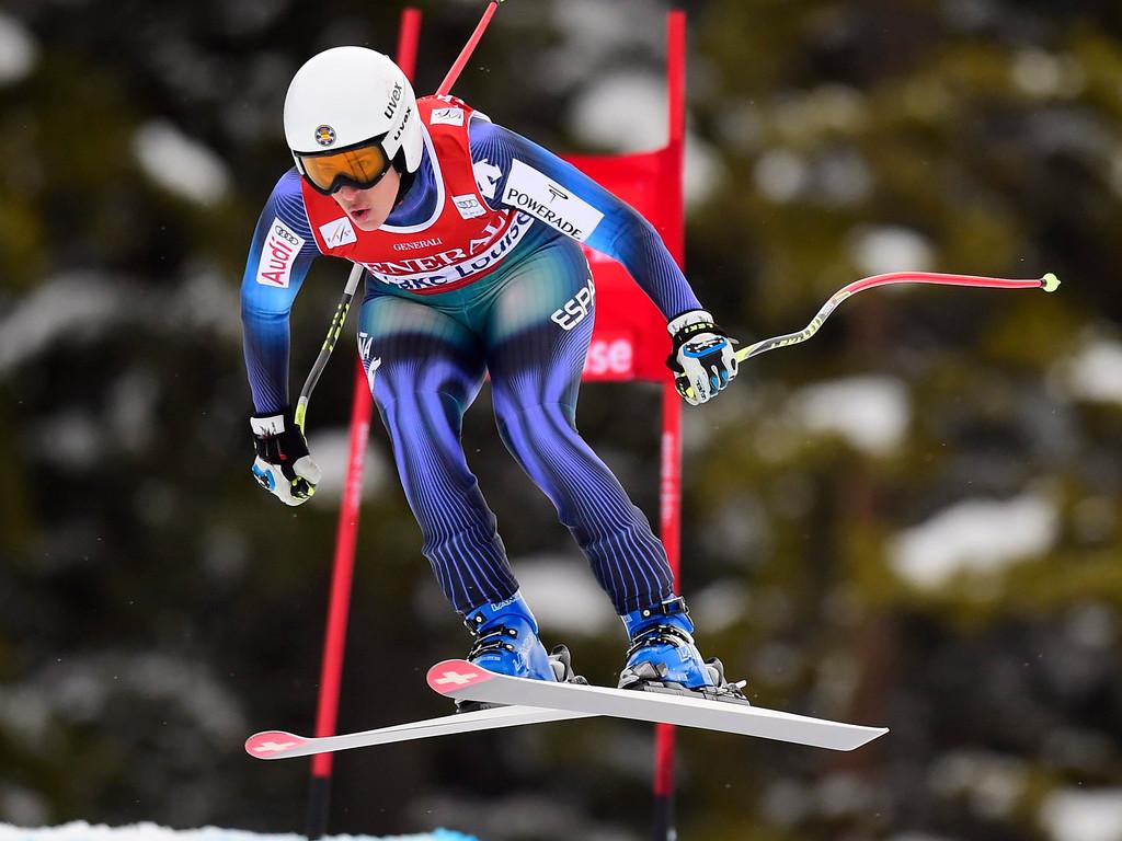 . Carolina Ruiz Castillo, of Spain, races down the course during the women\'s World Cup downhill ski race in Lake Louise, Alberta, Saturday, Dec. 6, 2014. (AP Photo/The Canadian Press, Frank Gunn)