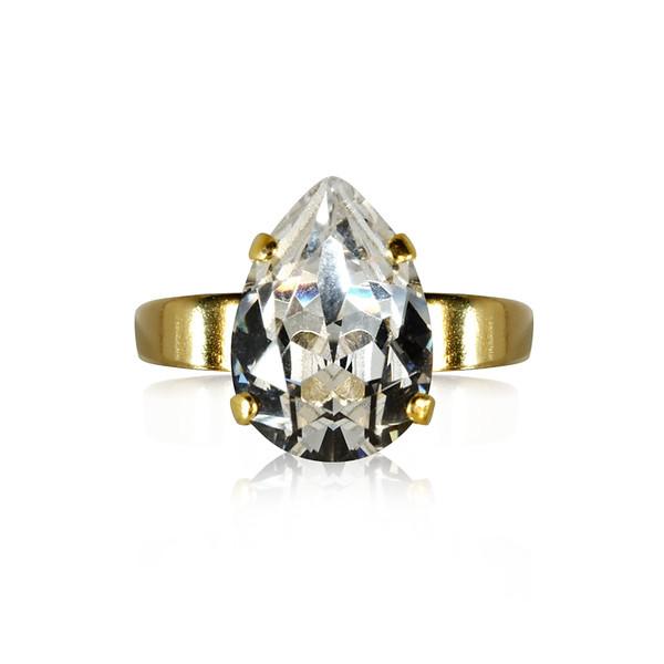 Mini Drop Ring / Crystal Gold