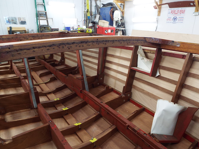 Inside view of the ort side after some plywood skin has been fit.