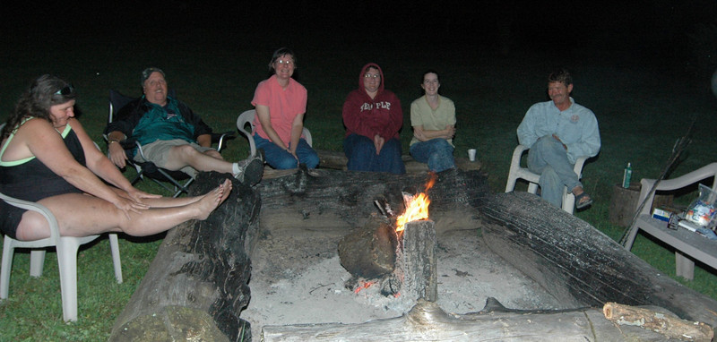 making smores around the fire