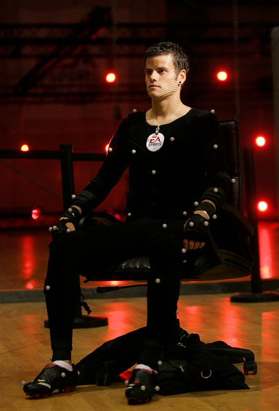 Bayer Leverkusen's soccer player Tranquillo Barnetta is scanned by motion capture filming for the new game FIFA 08 in Barcelona, May 24, 2007. REUTERS/Albert Gea (SPAIN)