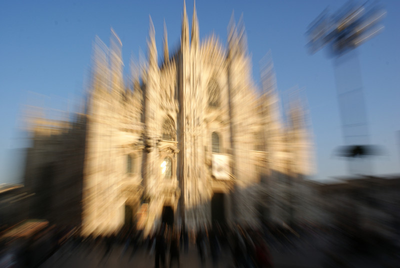 Milan, Italy.  Duomo Cathedral with some freaky camera work.