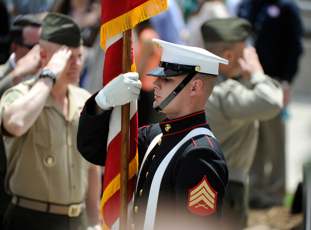 . COLORADO SPRINGS, CO - MAY 11: A U.S. Marine Corp Color Guard unit presents the colors during opening ceremonies for the 2013 Warrior Games at the United States Olympic Training Center Saturday afternoon, May 11th, 2013.(Photo By Andy Cross/The Denver Post)
