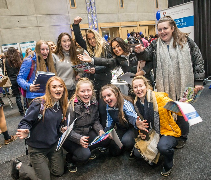 Pupils from Mercy Secondary School, Waterford during the Waterford Institute of Technology Schools' Open Day at the WIT Arena. On Saturday, 20 January, WIT is running another open day, the #StudyatWIT Open Day which will have information available on all courses available across WIT's schools of Lifelong Learning, Humanities, Engineering, Science & Computing, Health Sciences, Business. Picture: Pat Moore