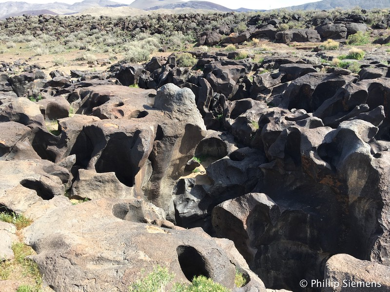 Old lava eroded by water at Fossil Falls