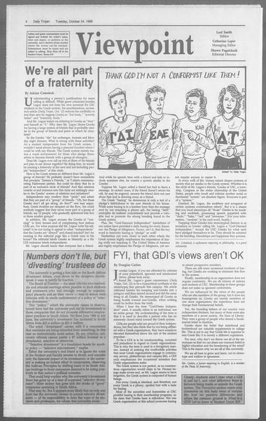Daily Trojan, Vol. 110, No. 35, October 24, 1989