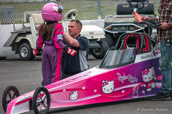 Killer Kitty II with RayLee Higgins and father Jason Higgins - Jr. Dragster 5-19-17