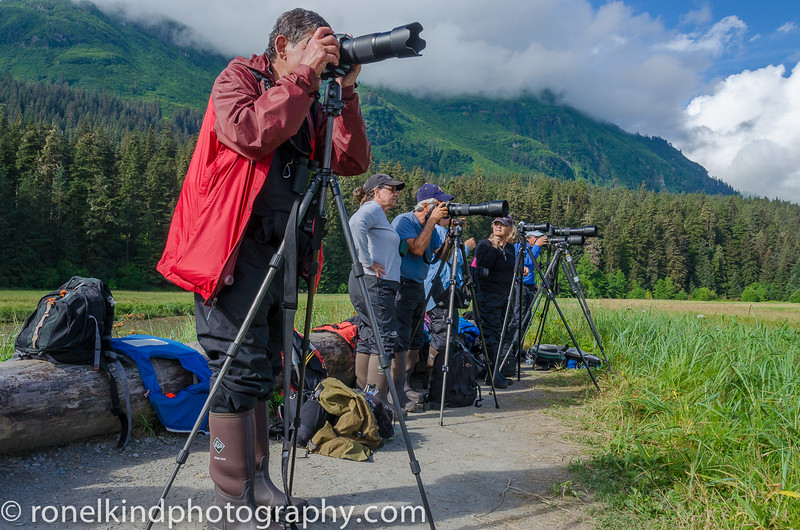 Ron and crew, photographing Grizzly Bears at Pack Creek.  We were about 250 meters from the wild bears.