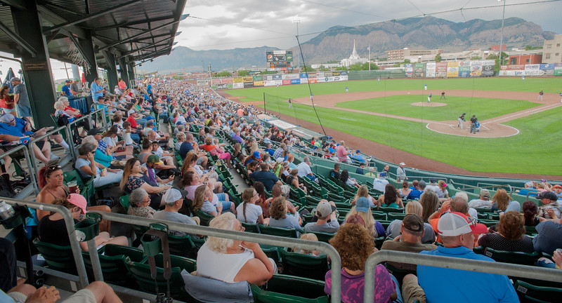 A near record breaking crowd attends the Raptors vs the Missoula Osprey at Lindquist Field in Ogden on Friday July 14, 2017.