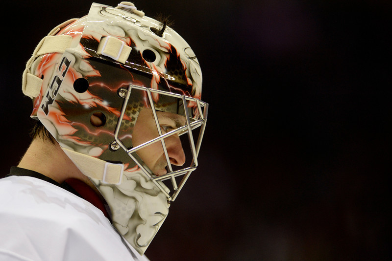 . Carey Price (31) of the Canada takes a breather against Latvia during the second period of men\'s hockey action. Sochi 2014 Winter Olympics on Wednesday, February 19, 2014 at Bolshoy Ice Arena. (Photo by AAron Ontiveroz/ The Denver Post)