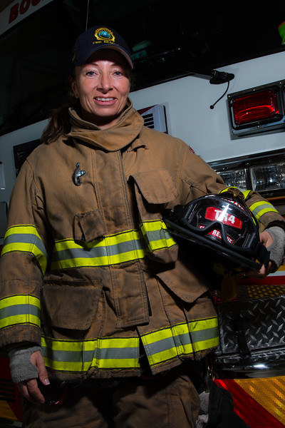 Portrait of firefighter Paula Ursini, Tuesday, December 22, 2015 at Fire Station 4 in Boca Raton. On December 6, 2015, Ursini saved a woman who drove her car into a canal in Boca Raton. Ursini was off duty at the time. She jumped into the canal and pulled the woman to safety on the shore. Ursini met with the woman she saved on December 21, 2015, the first time since the rescue. Ursini will be awarded for bravery by the Boca Raton Fire Department in January 2016. (Joseph Forzano / The Palm Beach Post)
