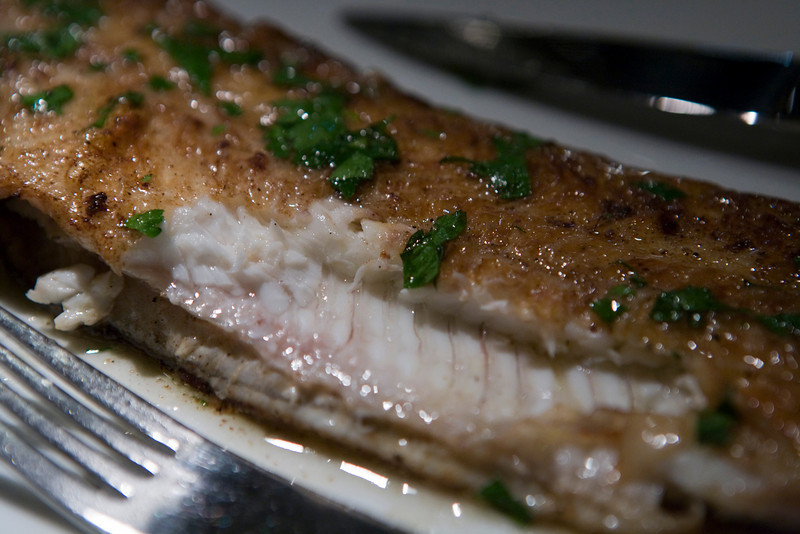 closeup of the dover sole.  Look at how succulent and moist that is.