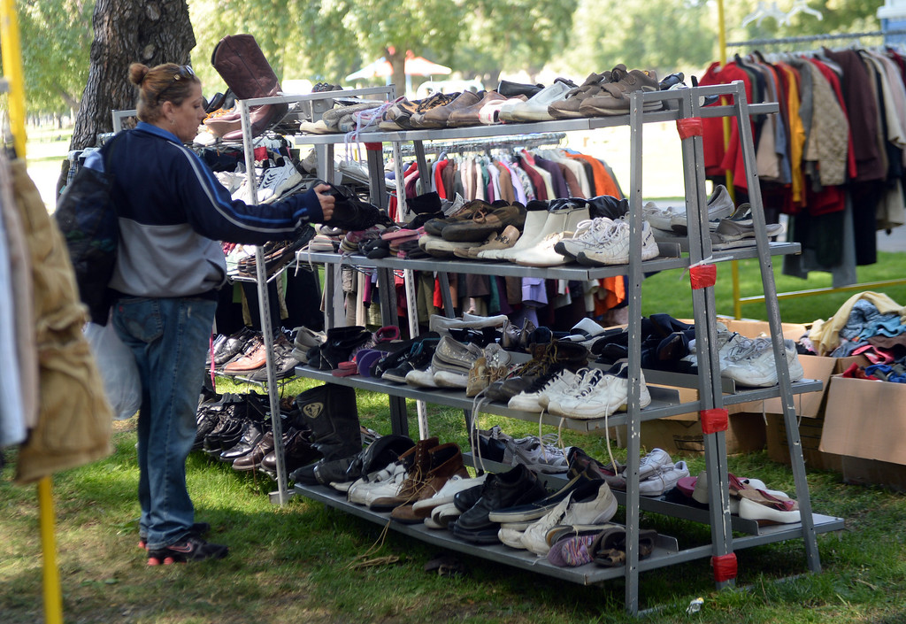 . Veterans were able to choose new clothing and shoes during �Heroes in the Shadows� San Gabriel Valley Homeless Stand Down, A three day event presented by The Vet Hunters Project and The SGV Veterans Employment Committee aims to combat Homelessness by providing on site assistance, services and resources to those in need at Whittier Narrows Recreation Park in South El Monte, Calif., on Saturday, April 5, 2014.  (Keith Birmingham Pasadena Star-News)