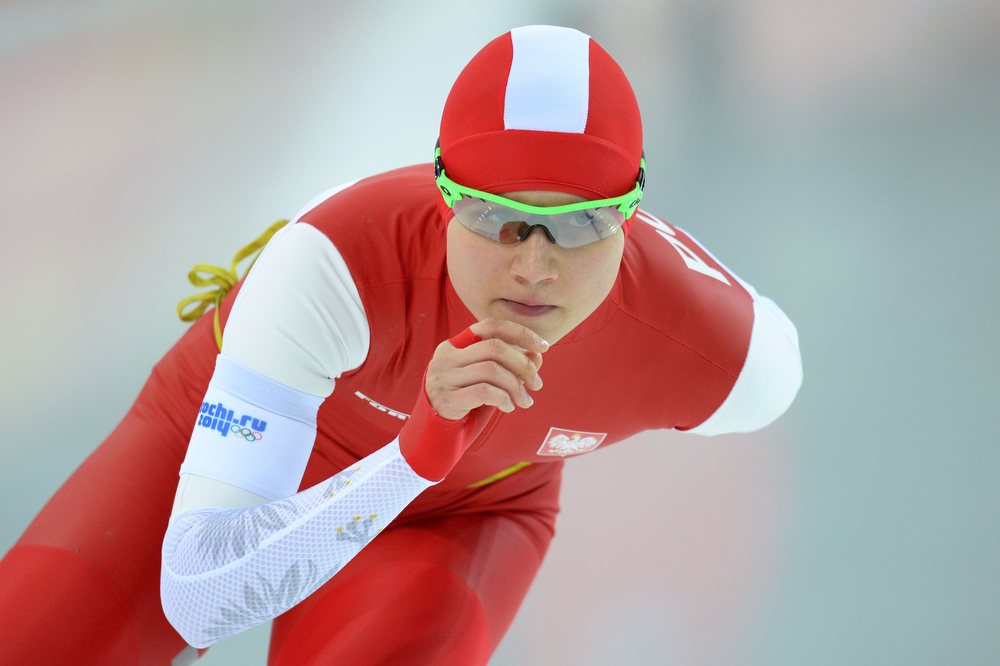 . Poland\'s Katarzyna Wozniak competes in the Women\'s Speed Skating 5000 m at the Adler Arena during the Sochi Winter Olympics on February 19, 2014.  (ANDREJ ISAKOVIC/AFP/Getty Images)