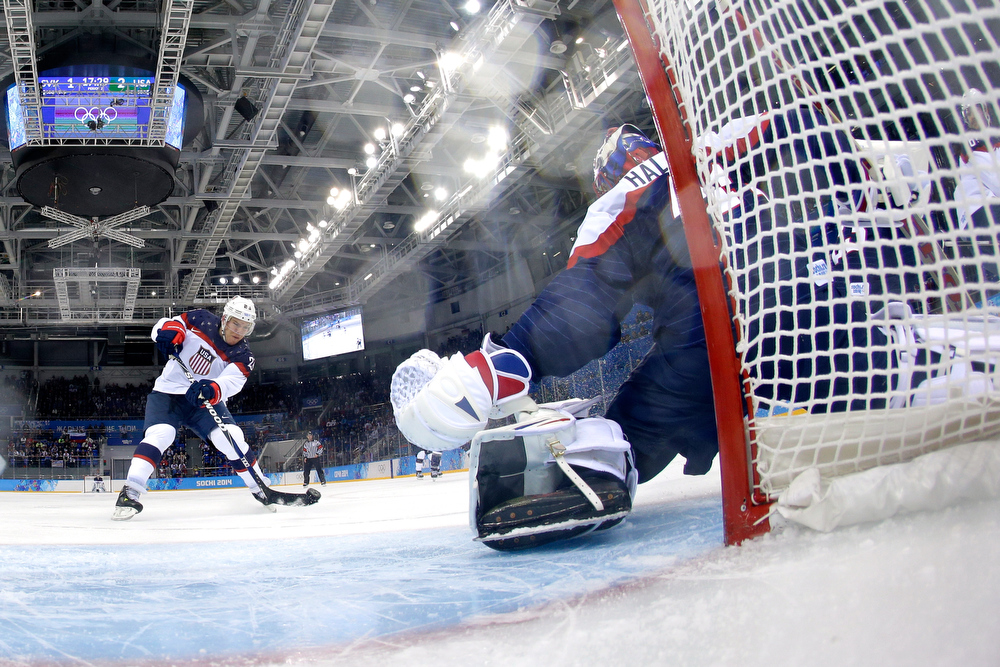 . Paul Stastny #26 of United States scores a goal against Jaroslav Halak #41 of Slovakia during the Men\'s Ice Hockey Preliminary Round Group A game on day six of the Sochi 2014 Winter Olympics at Shayba Arena on February 13, 2014 in Sochi, Russia.  (Photo by Brian Snyder-Pool/Getty Images)