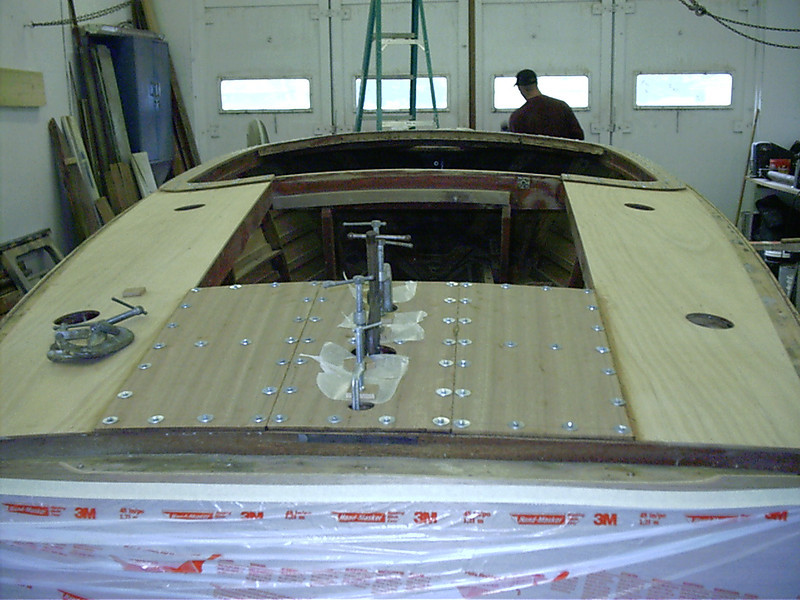 Rear deck glued and held down with tempory fasteners