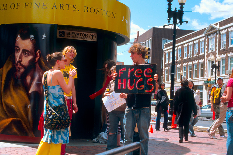 """""""Free Hugs"""" - I see a lot of chatting going on here, but I only actually saw one hug the entire time I was there."""