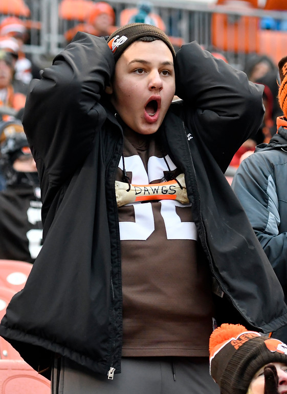 . A Cleveland Browns fan reacts in the second half of an NFL football gameagainst the Jacksonville Jaguars, Sunday, Nov. 19, 2017, in Cleveland. (AP Photo/David Richard)