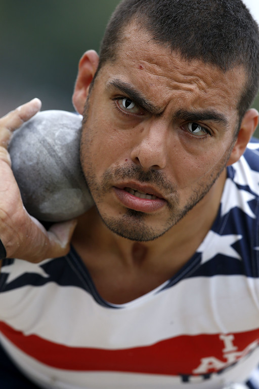 . US athlete Michael Kacer competes in the shot put during the Invictus Games at Queen Elizabeth II Park in London on September 11, 2014.AFP PHOTO/ADRIAN DENNISADRIAN DENNIS/AFP/Getty Images