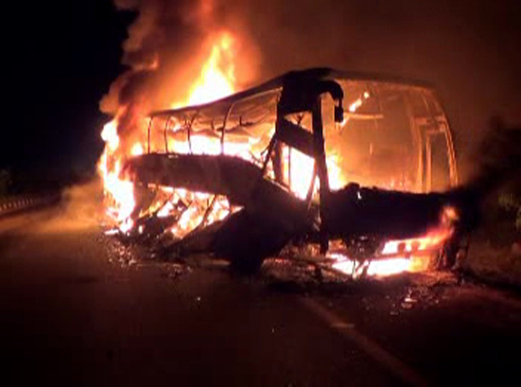 . A luxury bus which was traveling from Bangalore to Hyderabad, is engulfed in flames on the highway in Mahbubnagar district of the southern Andhra Pradesh state, about 140 kms from Hyderabad on October 30, 2013.   A speeding bus exploded in a ball of flames after crashing into the central reservation of a southern Indian highway, killing 45 passengers as they slept.  AFP PHOTOSTR/AFP/Getty Images