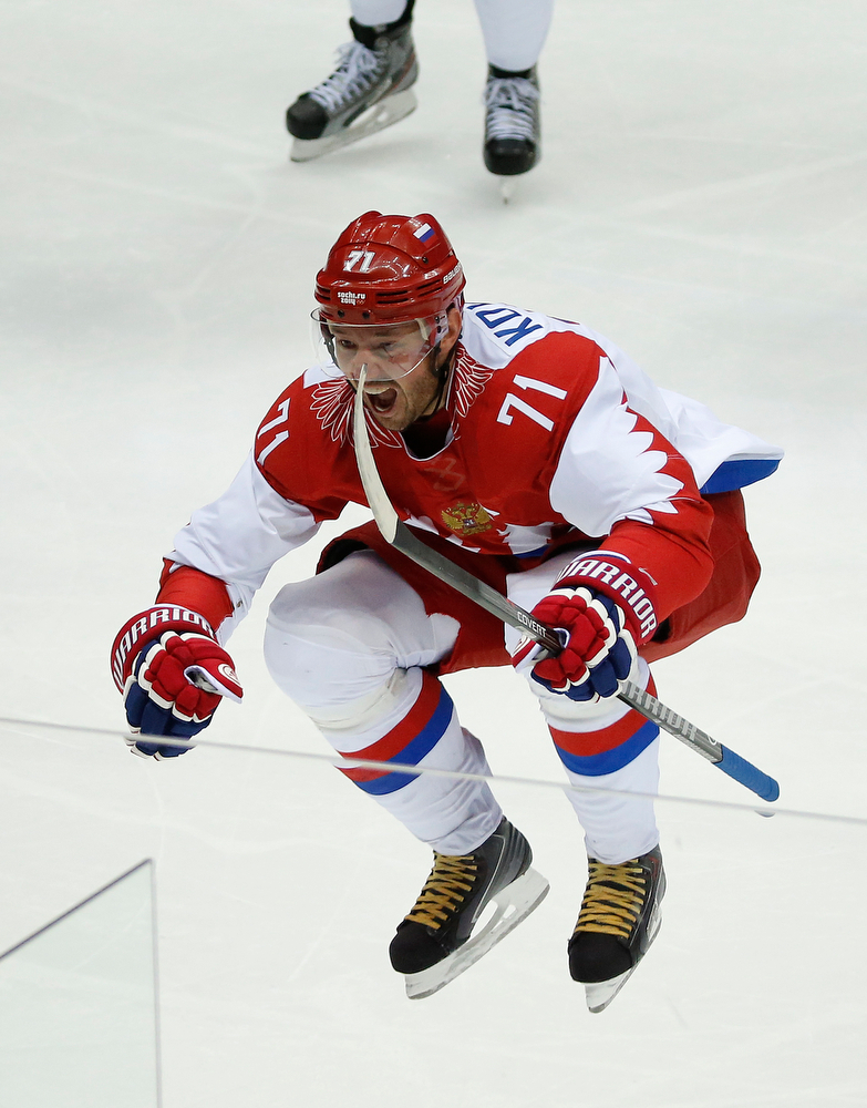 . Russia forward Ilya Kovalchuk reacts after scoring a goal against Finland during the first period of a men\'s quarterfinal ice hockey game at the 2014 Winter Olympics, Wednesday, Feb. 19, 2014, in Sochi, Russia.  (AP Photo/Mark Humphrey)