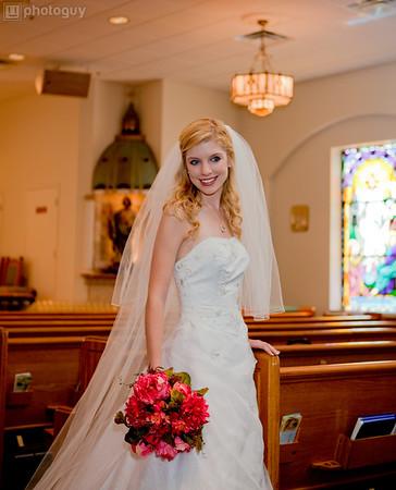 A beautiful bride at church during wedding