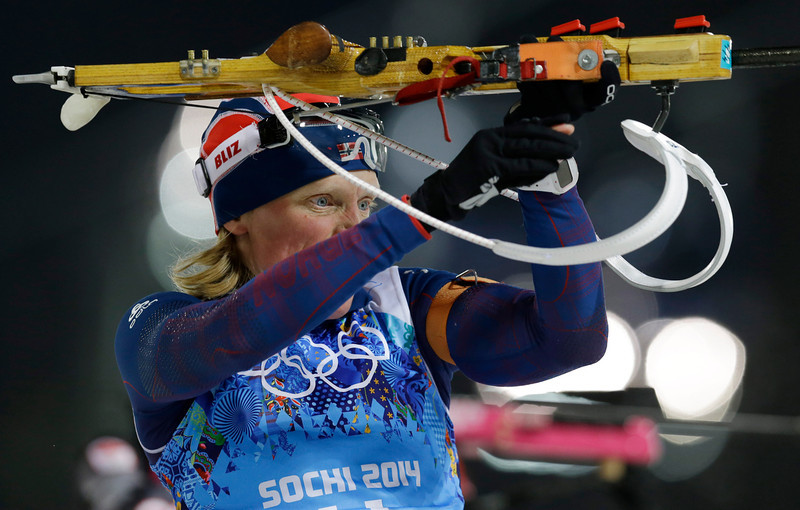. Norway\'s Tora Berger shoulders her rifle during the women\'s biathlon 4x6k relay at the 2014 Winter Olympics, Friday, Feb. 21, 2014, in Krasnaya Polyana, Russia. (AP Photo/Kirsty Wigglesworth)