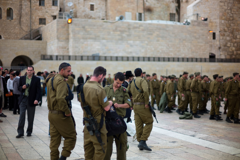Soldiers drilling at the Western Wall.