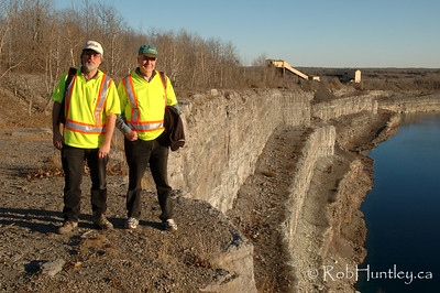 Your truly and my friend Bruce, adding scale to the vast size of the mine. Marmora Iron Mine, Marmora, Ontario.  © Rob Huntley