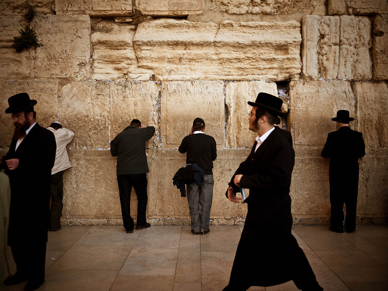 Apparently there are 4 walls still standing - this one is considered most holy because it's closest to the location of the holy grail. And of course every inch you can be closer to it matters in G-d eyes.